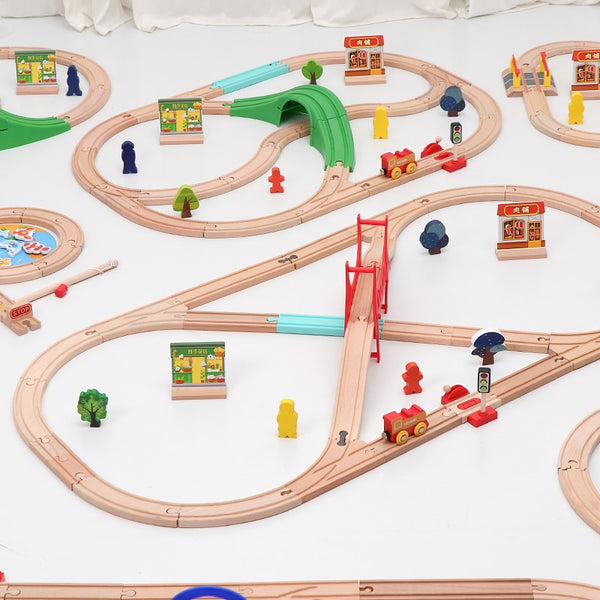 Wooden Train Track Set Electric Magnetic Train Railway