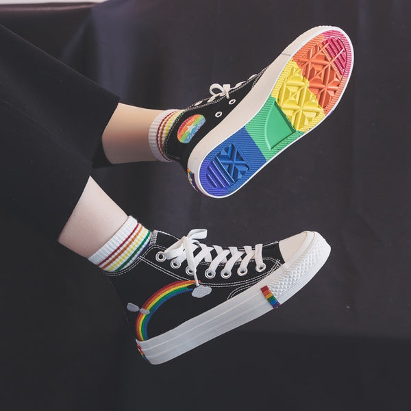 Women's Sneakers New Rainbow Retro Canvas Shoes