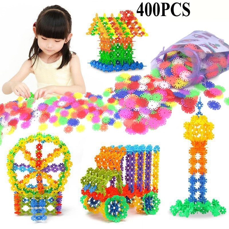 400 Pcs 3D  Snowflake Building Blocks For Kids