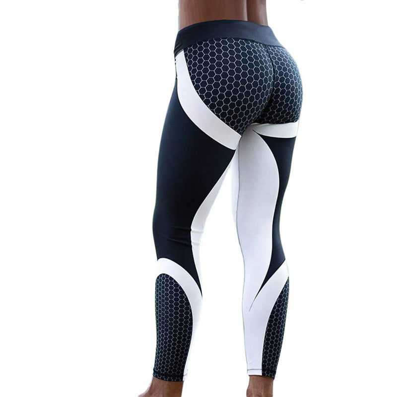 Women Workout Leggins - Pattern Print Slim Black White Pants