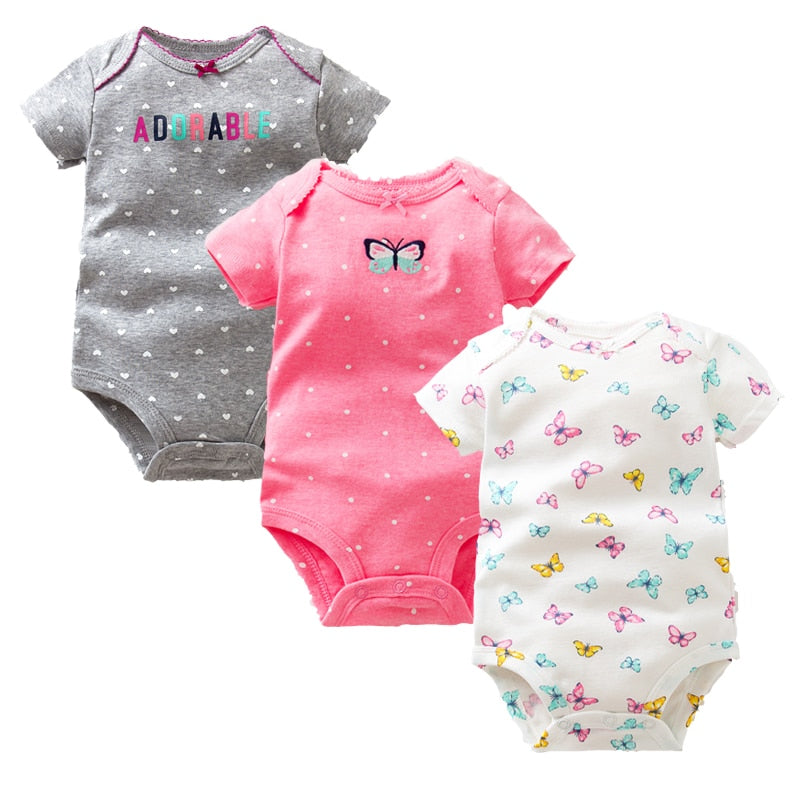 3PCS Set Baby Bodysuit Short Sleeve Newborn Baby