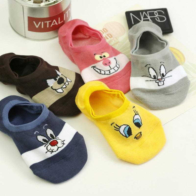 Cartoon Cotton Thin Women Boat Socks