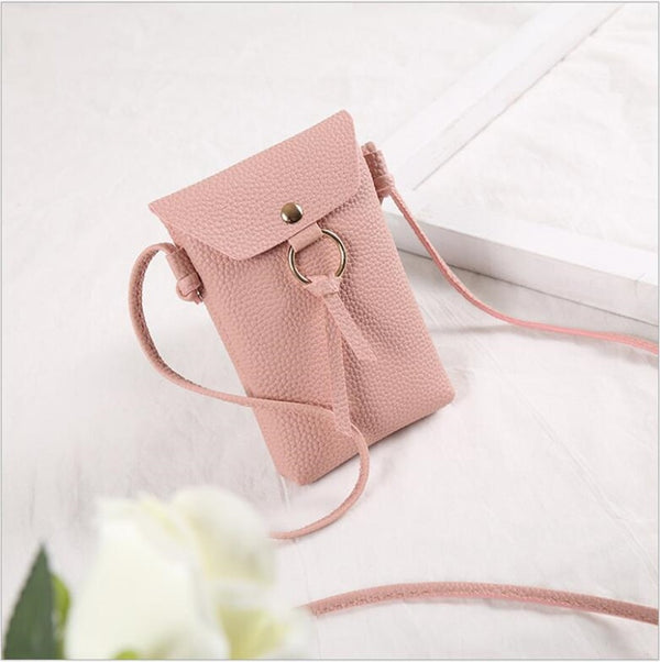 Leather Cell Phone Bag  Neck Strap