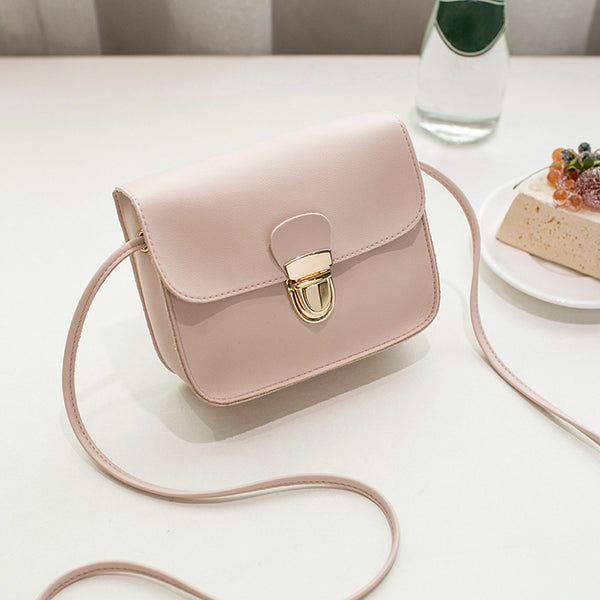 Women  Solid Color Cover Lock Shoulder Crossbody  Bag