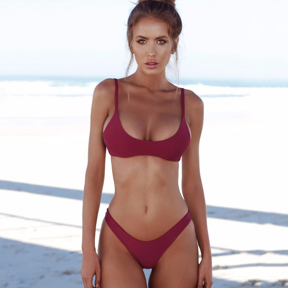Brazilian Bikini Push Up Swimsuit Solid