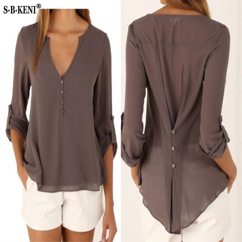 Chic Elegant Lady Loose Tops chiffon Blouse