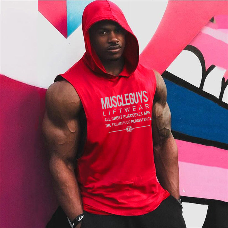 Sleeveless Shirt with hoody  Gyms Clothing