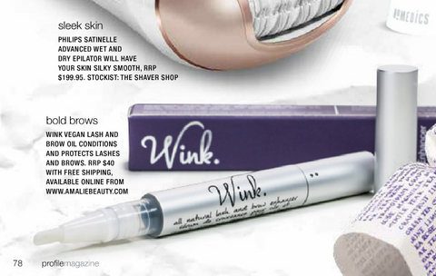 Blossoming Beauty: WINK lash and brow oil in Profile Magazine