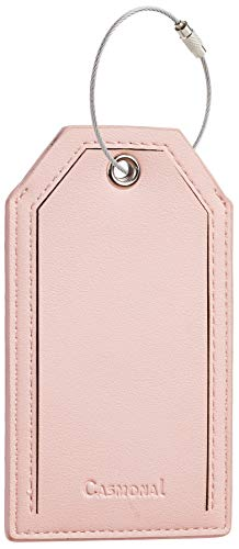 Casmonal Luggage Tags with Full Back Privacy Cover w/Steel Loops (pink 02 pcs set)