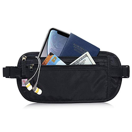 AIKELIDA RFID Blocking Travel Wallet - Money Belt & Passport Holder for Women Men - Black