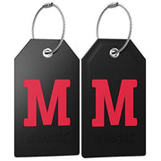 Initial Luggage Tag with Full Privacy Cover and Stainless Steel Loop (Black) (M)