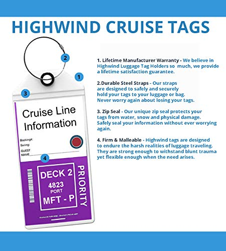 Cruise Tags Luggage Etag Holders Zip Seal & Steel Loops Thick PVC 4 Pack - Clear