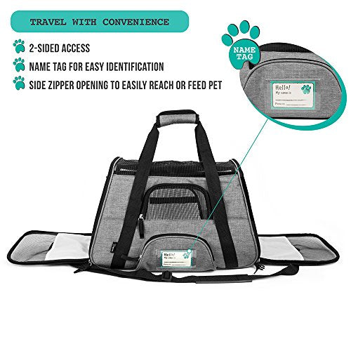 PetAmi Premium Airline Approved Soft-Sided Pet Travel Carrier | Ventilated, Comfortable Design with Safety Features | Ideal for Small to Medium Sized Cats, Dogs, and Pets (Large, Heather Gray)