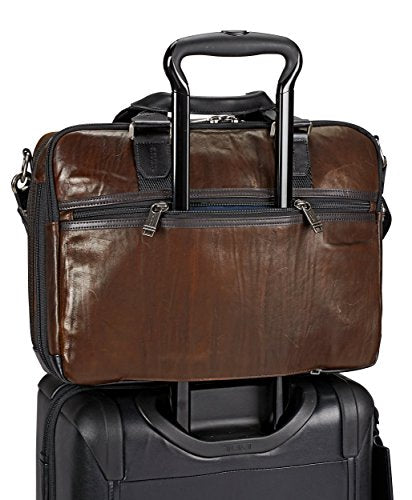 c109ff74126d TUMI Alpha Bravo Albany Slim Commuter Brief Briefcase, Dark Brown, 14 Inch  Computer Bag for Men and Women