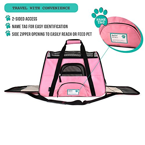 PetAmi Premium Airline Approved Soft-Sided Pet Travel Carrier | Ventilated, Comfortable Design with Safety Features | Ideal for Small to Medium Sized Cats, Dogs, and Pets (Large, Pink)
