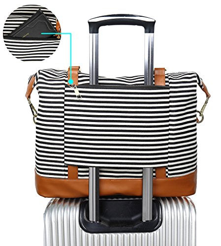 Women Ladies Canvas Weekender Bag Overnight Carry-on Tote Duffel in Trolley Handle (Black Stripe)