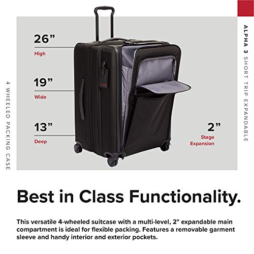 TUMI - Alpha 3 Short Trip Expandable 4 Wheeled Packing Case Suitcase - Rolling Luggage for Men and Women - Black