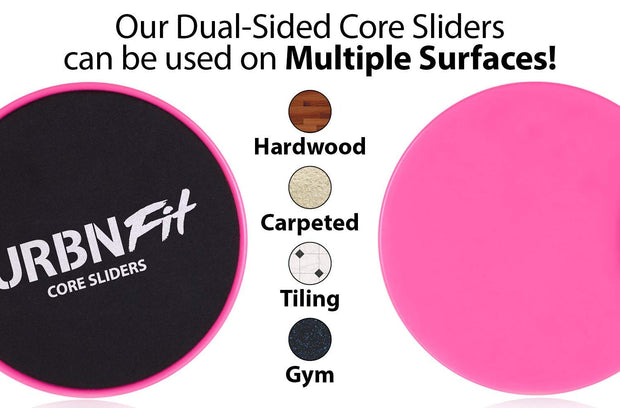 Gliding Discs Core Sliders - Dual Sided Exercise Disc For Smooth Sliding On Carpet And Hardwood Floors - Gliders Workout Legs, Arms Back, Abs At Home or Gym or Travel - Fitness Equipment (Pink)
