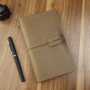 Travel Journal Notebook Vintage Retro Handmade Leather Lined Journal Refillable Note Book for Taking Notes by ai-natebok, 4.72 X 7.87inch (White Coffee)