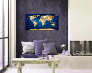 "Wall Art blue map of the world Painting Ready to Hang -20"" x 40"" Pieces Large Framed wall art world Map Canvas Art Map wall decorations Artwork Prints for Background For Home Office Decoration."