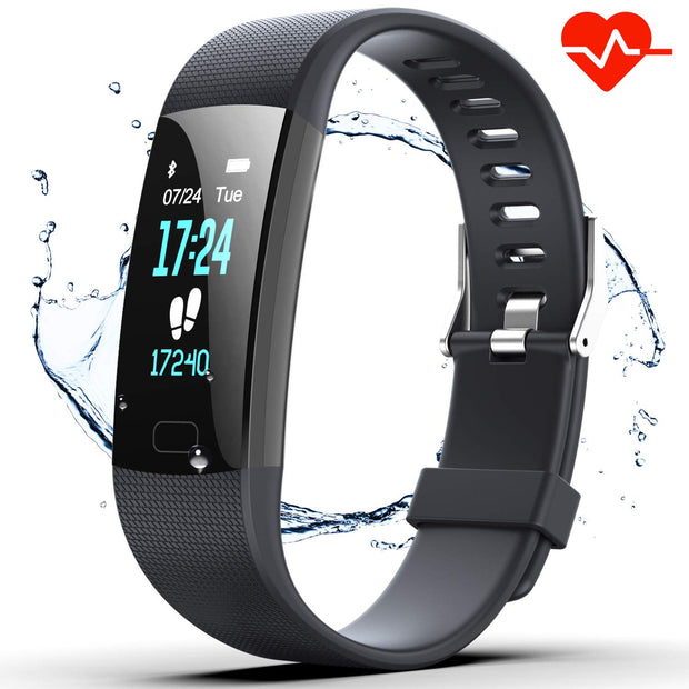 Fitness Tracker HR, Y1 Activity Tracker Watch with Heart Rate Monitor, Pedometer IP67 Waterproof Sleep Monitor Step Counter for Android & iPhone (Midnight Black)