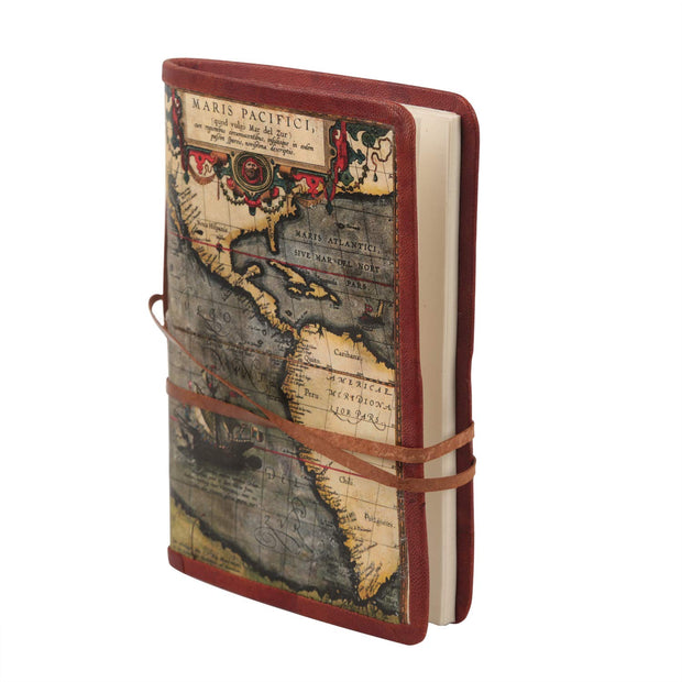 storeindya Leather Journal Writing Notebook - Leather Bound Daily Notepad with Unlined Paper 7x5 inches for Men Women Art Sketchbook (Ancient Travel Map) to Write in - Great