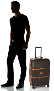DELSEY Paris Luggage Chatelet Hard+ Medium Checked Spinner Suitcase Hardside with Lock, Chocolate Brown