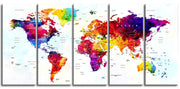 "Original by BoxColors Xlarge 30""x 70"" 5 Panels 30x14 Ea Art Canvas Print World Map Original Watercolor Push Pin Travel cities Wall Home Office decor (framed 1.5"" depth)"