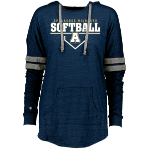 Wildcat Softball Plate Logo Ladies Hooded Low Key Pullover