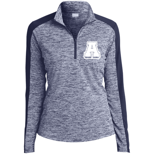 A Logo (wht) Ladies' Electric Heather Colorblock 1/4-Zip Pullover