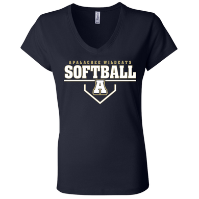 Wildcat Softball Plate Logo Ladies' Jersey V-Neck T-Shirt