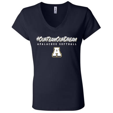 #ourteamourdream (navy) Ladies' Jersey V-Neck T-Shirt