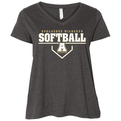 Wildcat Softball Plate Logo  Ladies' Curvy V-Neck T-Shirt