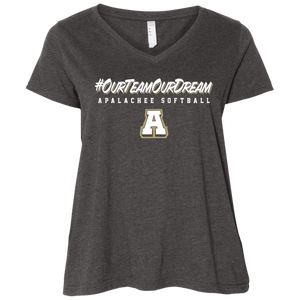 #ourteamourdream (navy) Ladies' Curvy V-Neck T-Shirt
