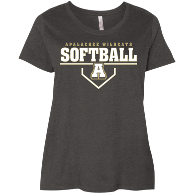 WIldcat Softball Plate Logo Ladies' Curvy T-Shirt
