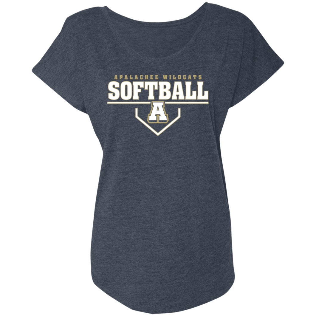 Wildcat Softball Plate Logo Ladies' Triblend Dolman Sleeve
