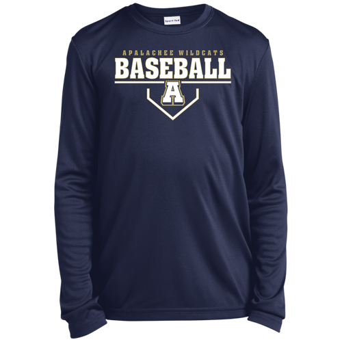 Baseball Plate Logo Youth Long Sleeve Moisture-Wicking T-Shirt