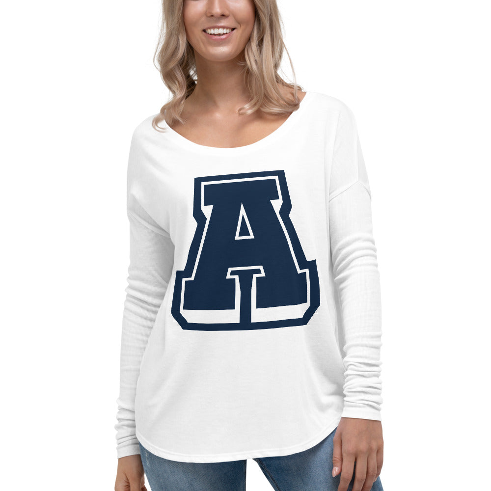 Ladies' A Logo Long Sleeve Scoop Tee