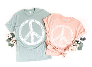 Leopard Peace T-Shirt - Blush Pink