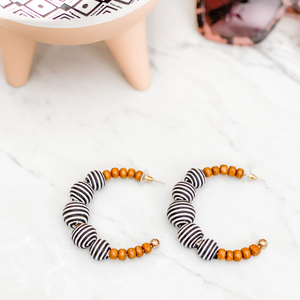 Wood Bead Striped Hoop Earrings - 2 colors available