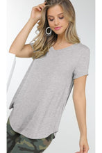 Load image into Gallery viewer, V neck tee in heathered grey