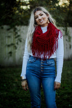Load image into Gallery viewer, Fringe infinity scarf in burgundy