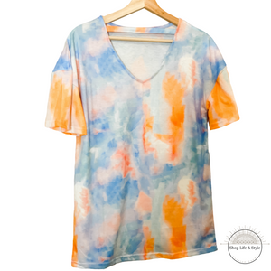 Tie-Dye Top with Cutout Design
