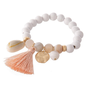 Wood Bead & Natural Stone Bracelet with Tassel and Shell