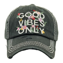 Load image into Gallery viewer, Good Vibes Only Distressed Baseball Cap- Faded Black