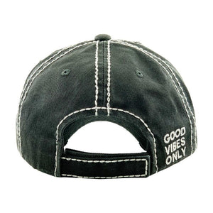 Good Vibes Only Distressed Baseball Cap- Faded Black