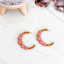 Load image into Gallery viewer, Wood Bead Striped Hoop Earrings - 2 colors available