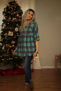 Plaid to be here ruffle sleeve top