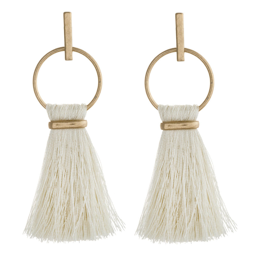 Fringe Fan Tassel Earrings - Ivory