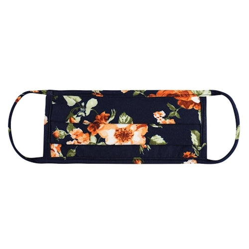 Floral Print Pleated T-Shirt Cloth Face Mask- Navy